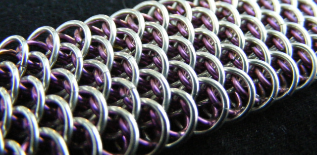 Sterling and Anodized Niobium Dragonscale Bracelet - Closeup.png