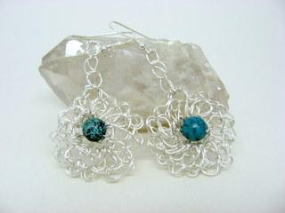 Crocheted sterling plate earrings