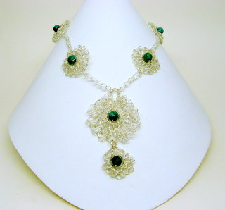 Sterling plate crocheted wire necklace
