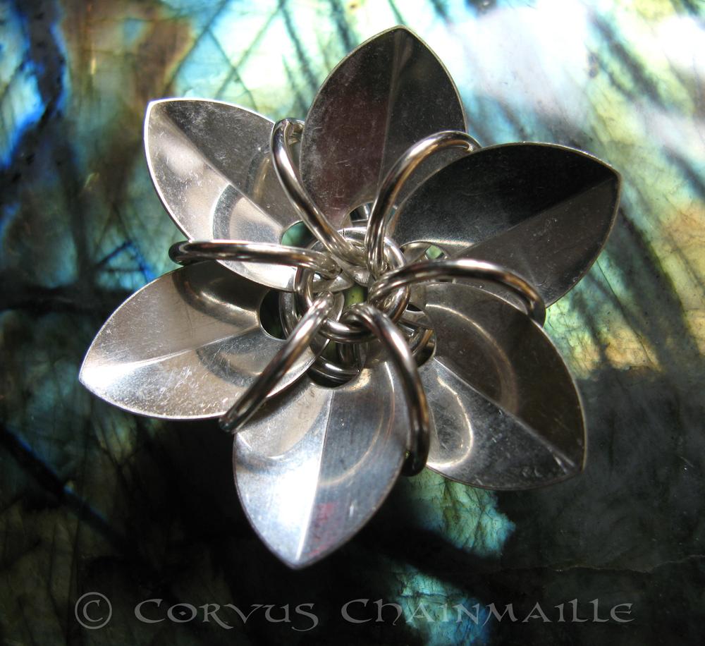 Sterling silver 6 petal flower