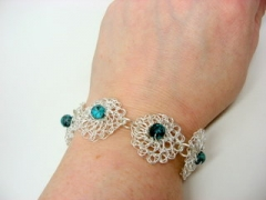 Sterling plate crocheted wire bracelet