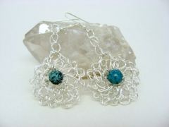 Crocheted sterling plate earrings