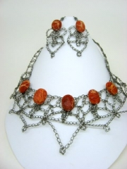 crocheted titanium wire with coral beads