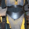 Leather and maille barbarian-ette outfit