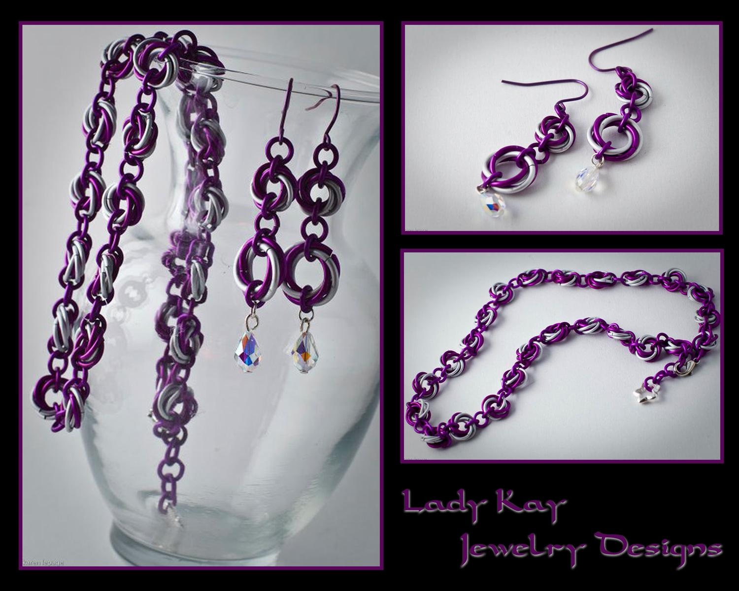 Mobius Flower Chain Necklace and Earrings Set