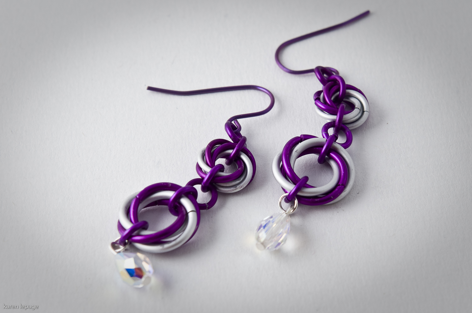 Mobius Flower Earrings with Swarovski Drops