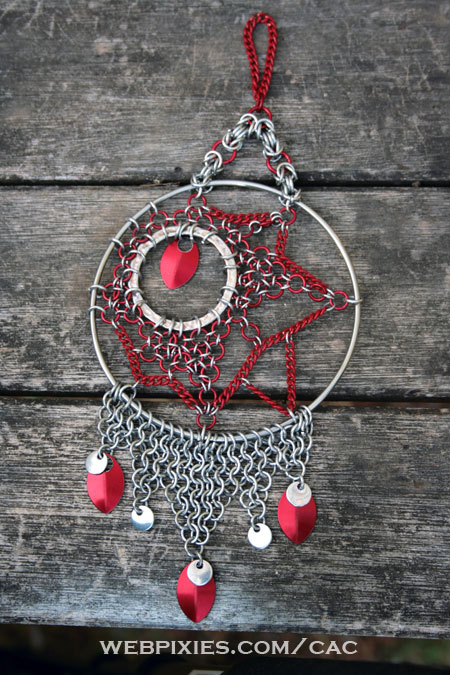 red and silver dreamcatcher
