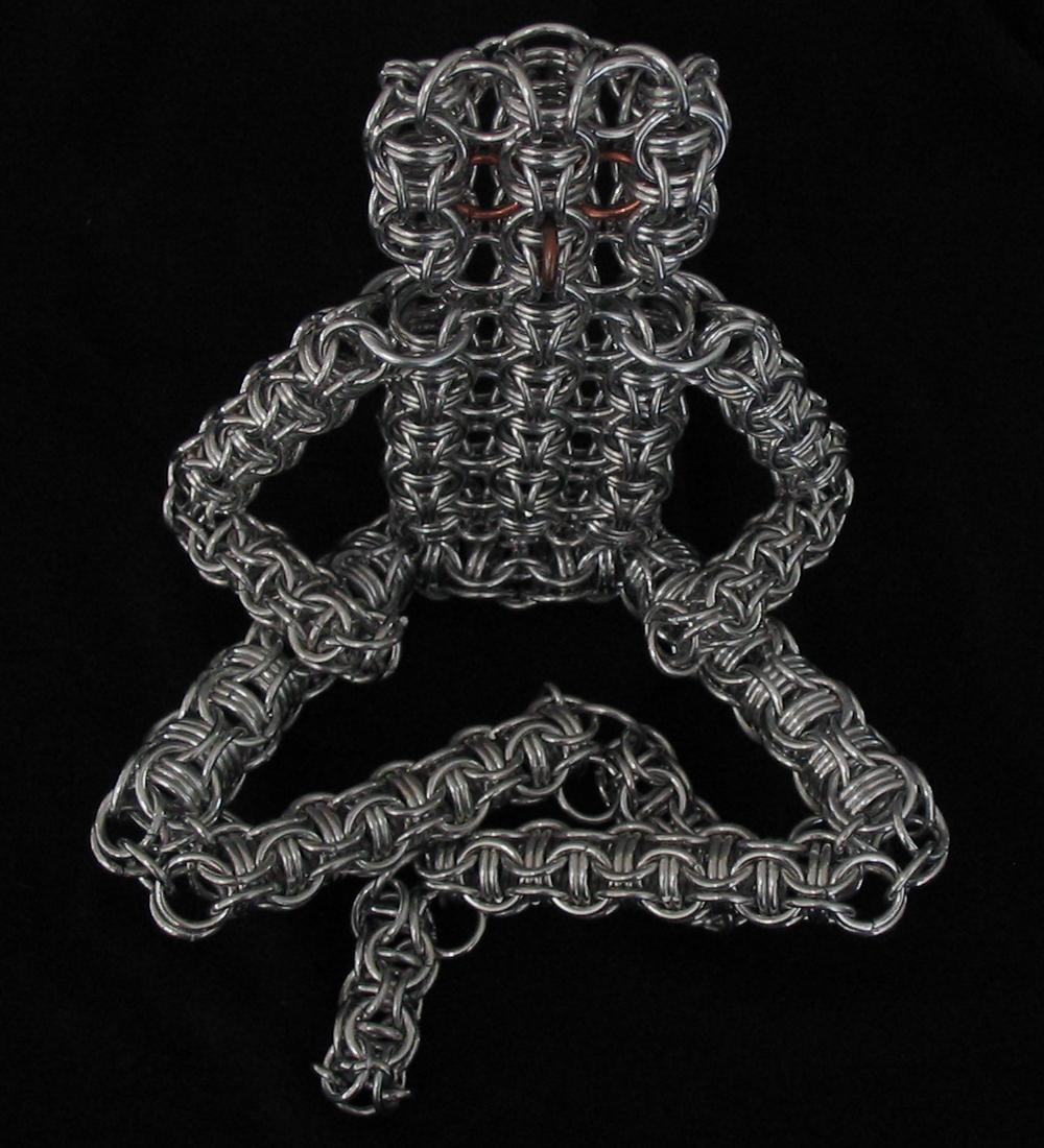Chainmail person sculpture
