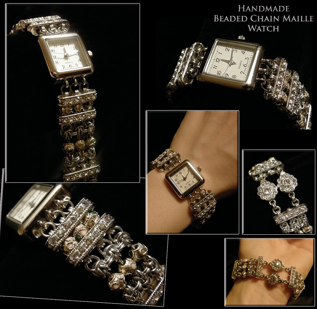 Chainmail & beaded Watch. Original design.
