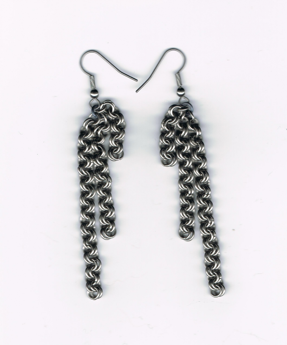 Earring, steel, double chain