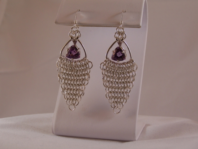 Sterling Silver Earrings with Amethyst Trillions