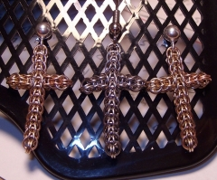 close Up Fp 6in1 gold fill 3 color cross earings view Num 2