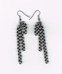 Earring, steel, double chain