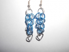 Silver and Blue Shaggy Loops with a heart pendant
