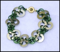 Round scales and green donut beads