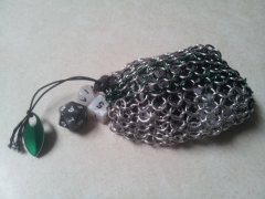 Silver/Black/Green Dice Bag