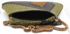 Maille purse with lid folded back.