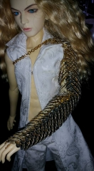 Gold scale arm armour on 60cm doll