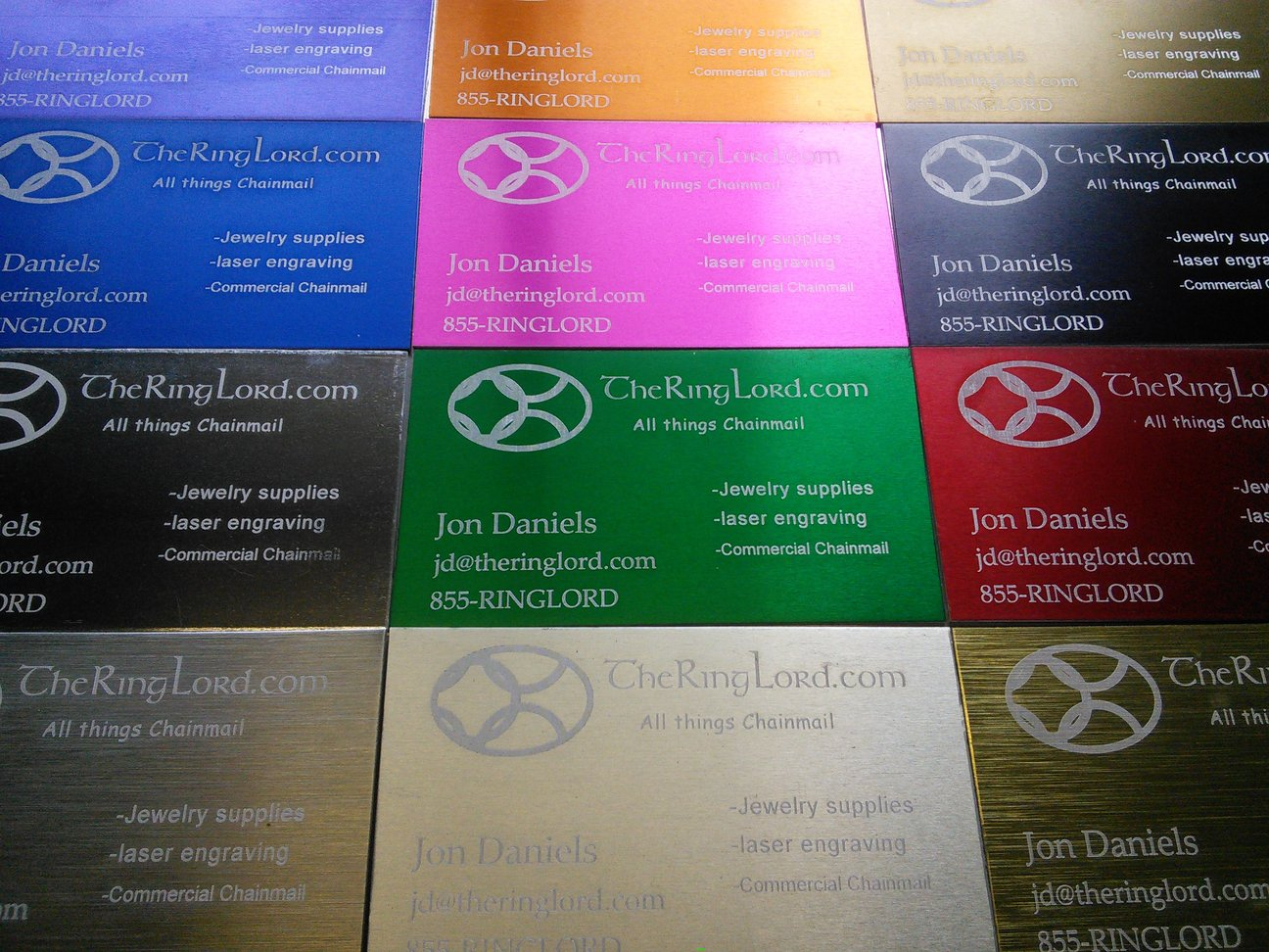 Laser Engraved Anodized business cards
