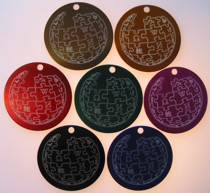 Wikipedia laser engraved 1.5inch tags