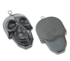hematite skull pendant