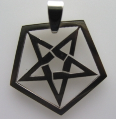 Laser cut stainless pentagram pendant