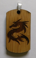 Laser engraved Bamboo Dogtag - tribal dragon