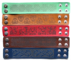 Laser engraved Leather Bracelets with Celtic patterns