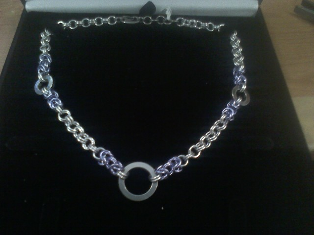 Byz and solid SS ring necklace