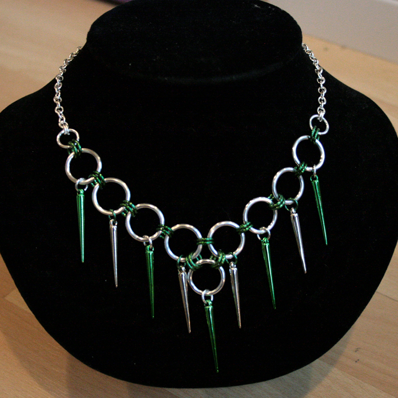 Silver and Green Spiked Choker