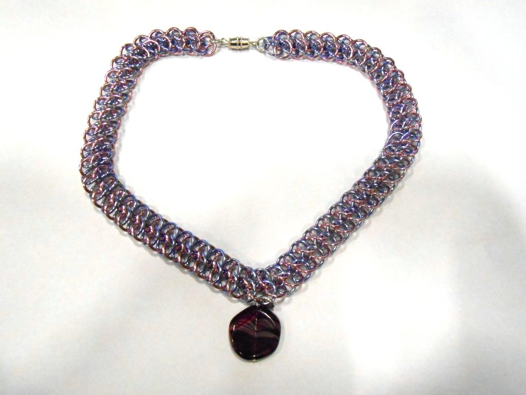 Lavender and Pink GSG Choker with Purple glass pendant