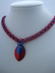 Helm necklace in red and blue