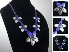 Purple, Lavender, and Steel Flower Necklace