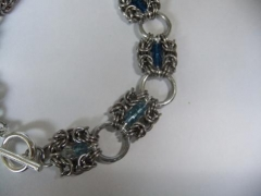 Stainless steel 20g Byzantine with different shades of blue Swarovski crystal beads