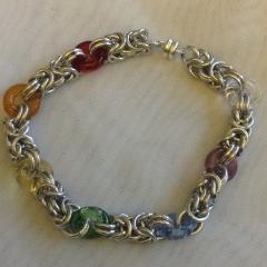 Byzantine bracelet with rainbow glass rings