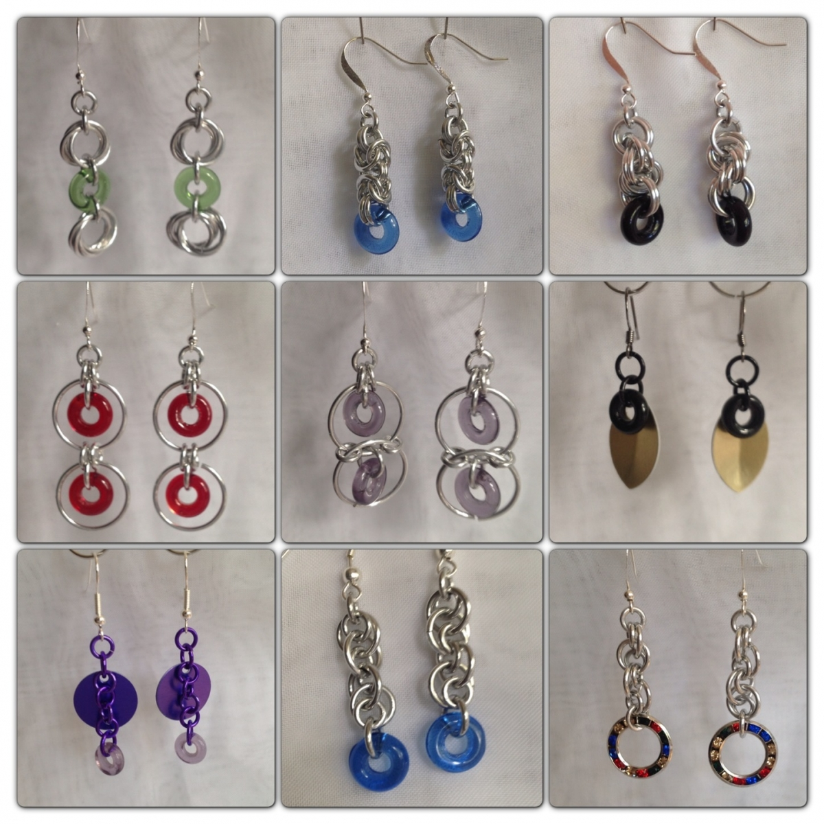 Earrings using glass rings