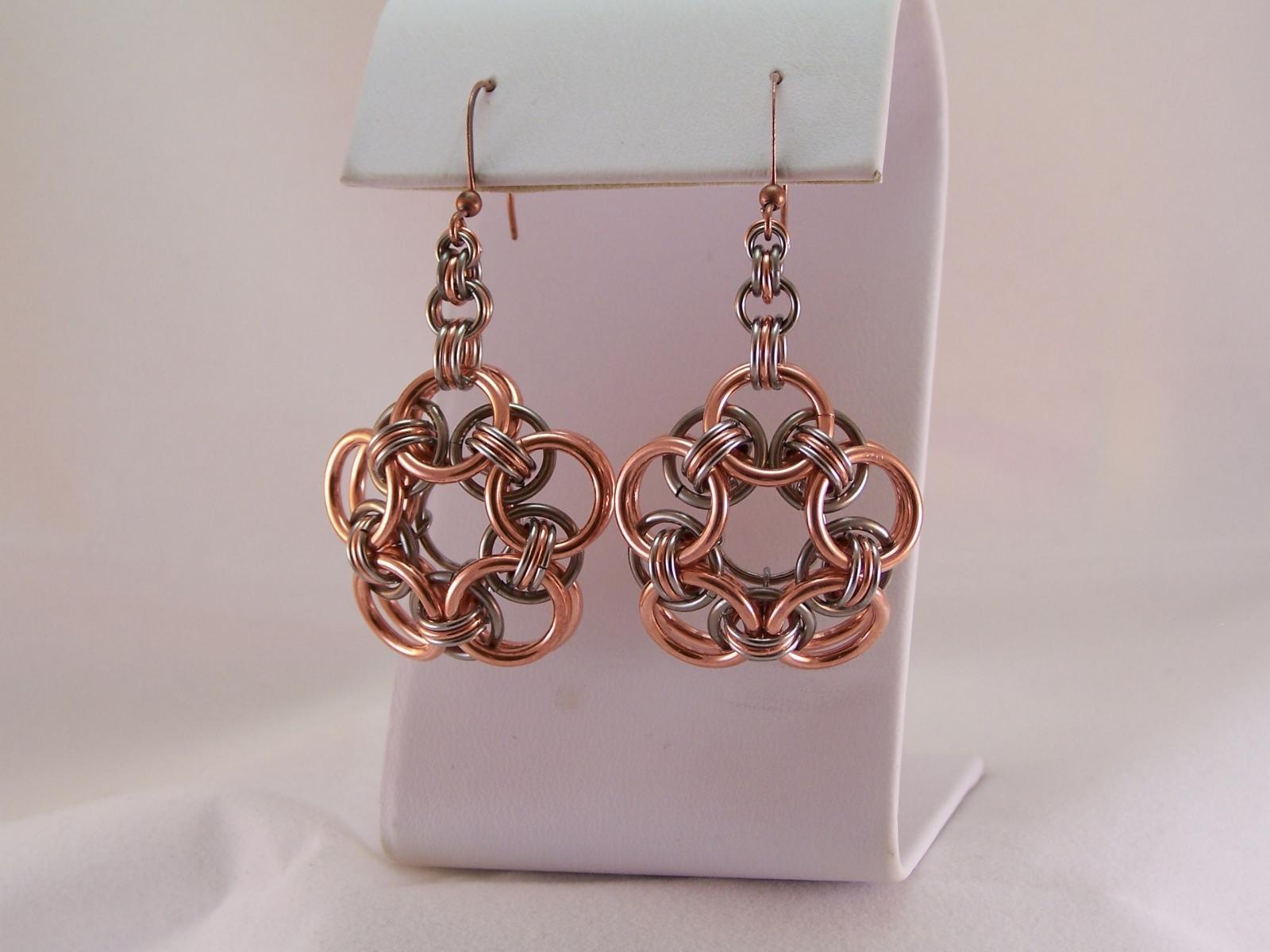 """Marguerite"" Earrings, in Copper & Stainless"