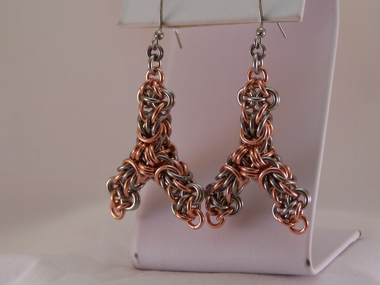"""Gothic Tri-X"" Earrings, in Copper & Stainless"