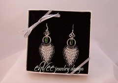 Fine Silver & Black Niobium w/ Chrome Diopside Earrings