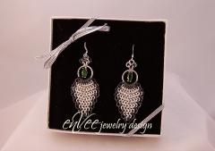 Fine Silver & Black Niobium w/ Chrome Diopside Earrings