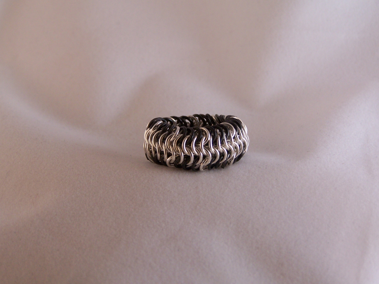 Mens E61 Ring in Fine Silver Black Niobium Rings Hand and