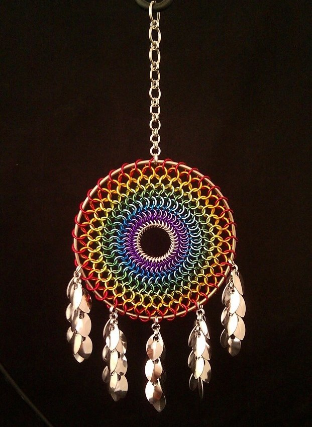 Chainmail Rainbow Dreamcatcher With Shaggy Scales Jpg