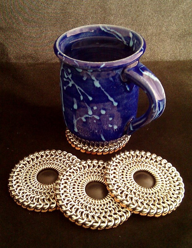 """Chain maille """"Round Shield"""" coasters"""