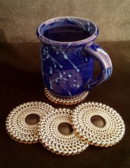 "Chain maille ""Round Shield"" coasters"